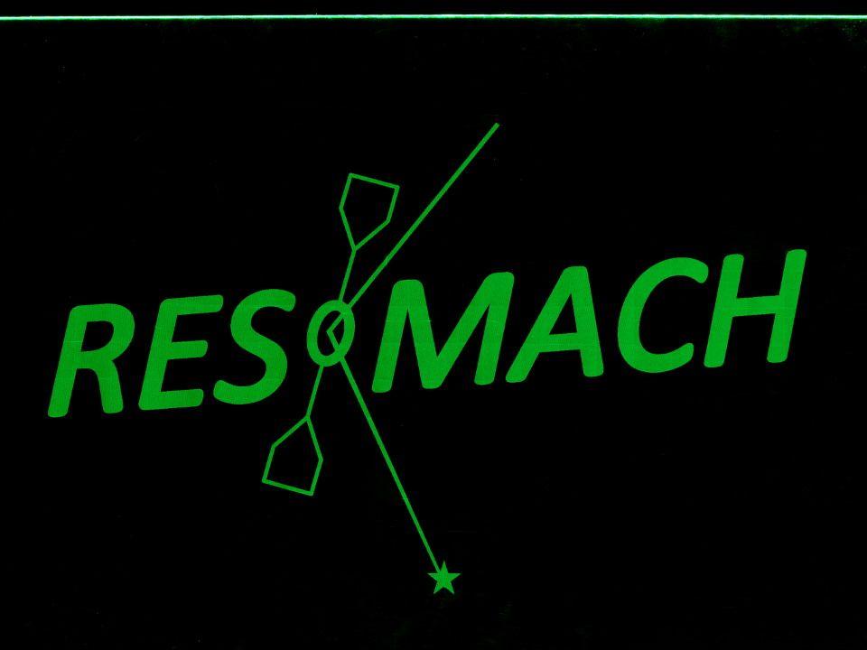 Seitlich beleuchtete Plexiglasplatte, auf welcher der Schriftzug 'Resomach' leuchtet.